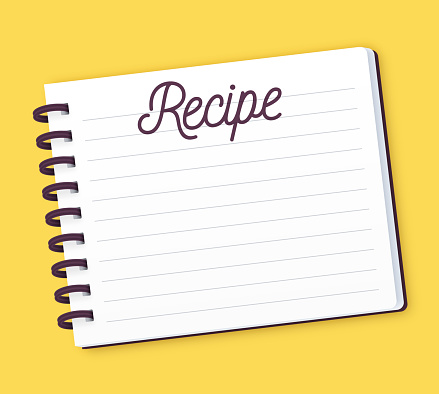 Recipe note pad with space for your ingredients, instructions and notes.