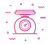 Recipe weight outline style icon design with decorations and gradient color. Line vector icon illustration for modern infographics, mobile designs and web banners.
