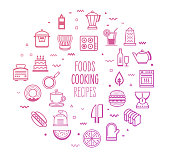 Recipes foods and cooking outline style symbols on modern gradient background. Line vector icons for infographics, mobile and web designs.