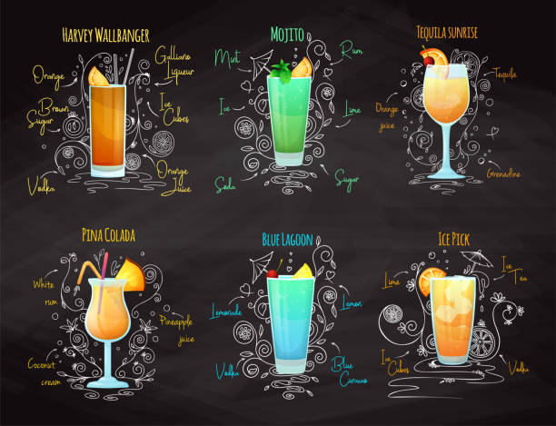 recipes for different cocktails. mojito, pina colada, blue lagoon and others. vector illustration - koktajl alkoholowy stock illustrations