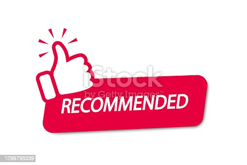 istock Recommend icon. Banner recommended with thumb up. Red label. Best brend. Emblem. Vector illustration. Eps 10 1299795339
