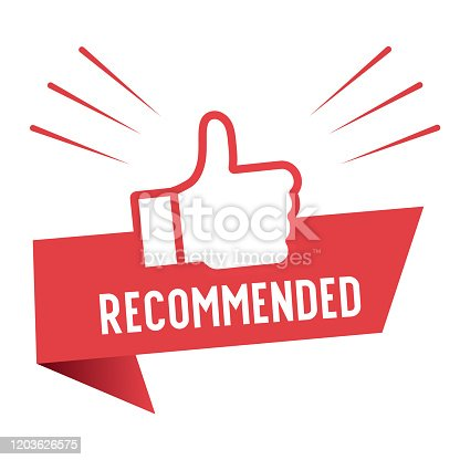 Recommend icon design. Red label recommend with thumb up icon in trendy flat style design. Vector illustration.