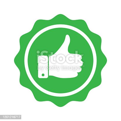 Recommend graphic icon. Recommended symbol with thumbs up. Quality production sign isolated on white background. Vector illustration