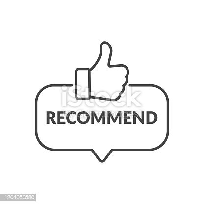 Recommended icon. Label recommended with thumb up. Sign brand with recommended. Best tag for great brend. Banner ribbon thumb up on isolated background. Vector illustration