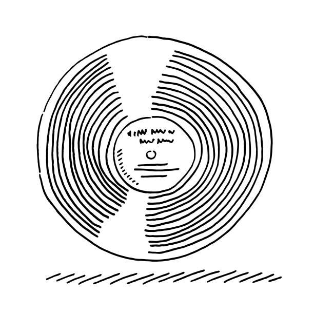 LP Record Album Drawing vector art illustration