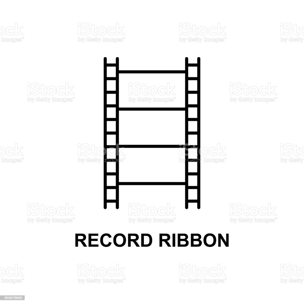 record ribbon icon. Element of cinema for mobile concept and web apps. Thin line record ribbon icon can be used for web and mobile. Premium icon vector art illustration