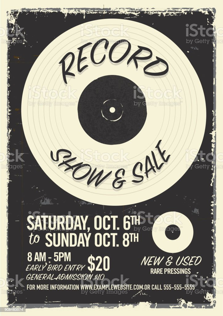 Record show and sale poster advertisement design template vector art illustration