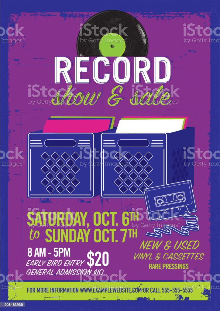 Record Show And Sale Poster Advertisement Design Template Stock