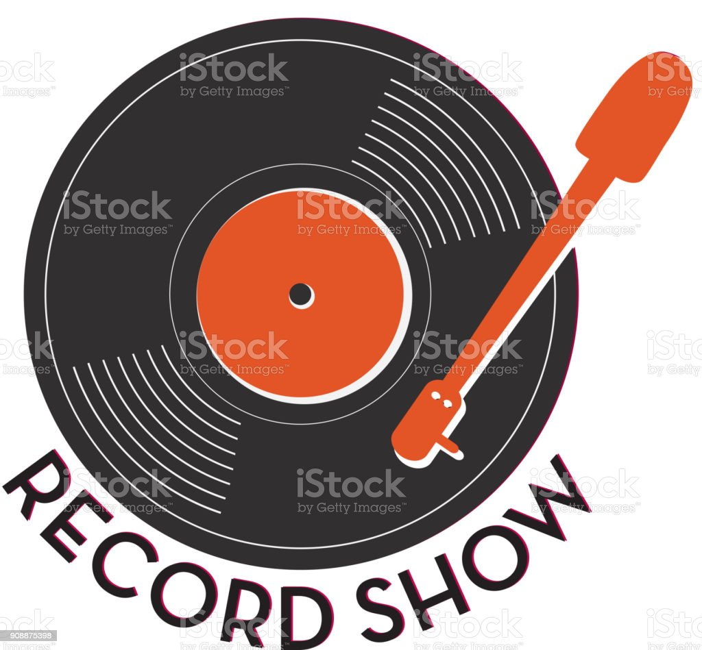 Record show icon design with text vector art illustration