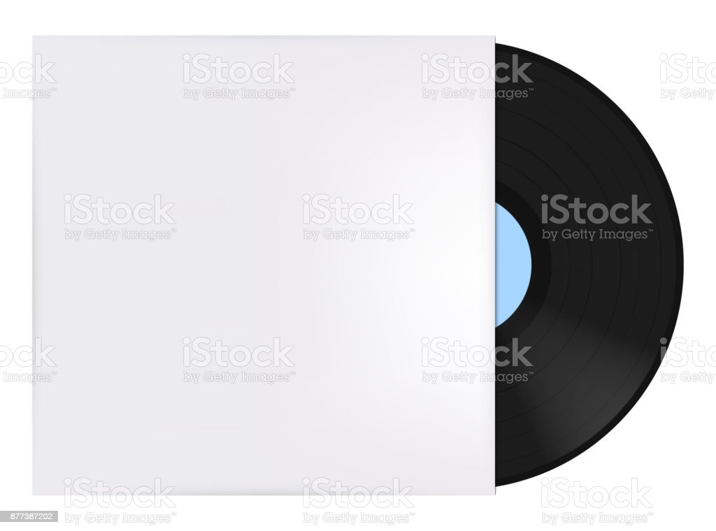 Record sleeve with vinyl vector art illustration