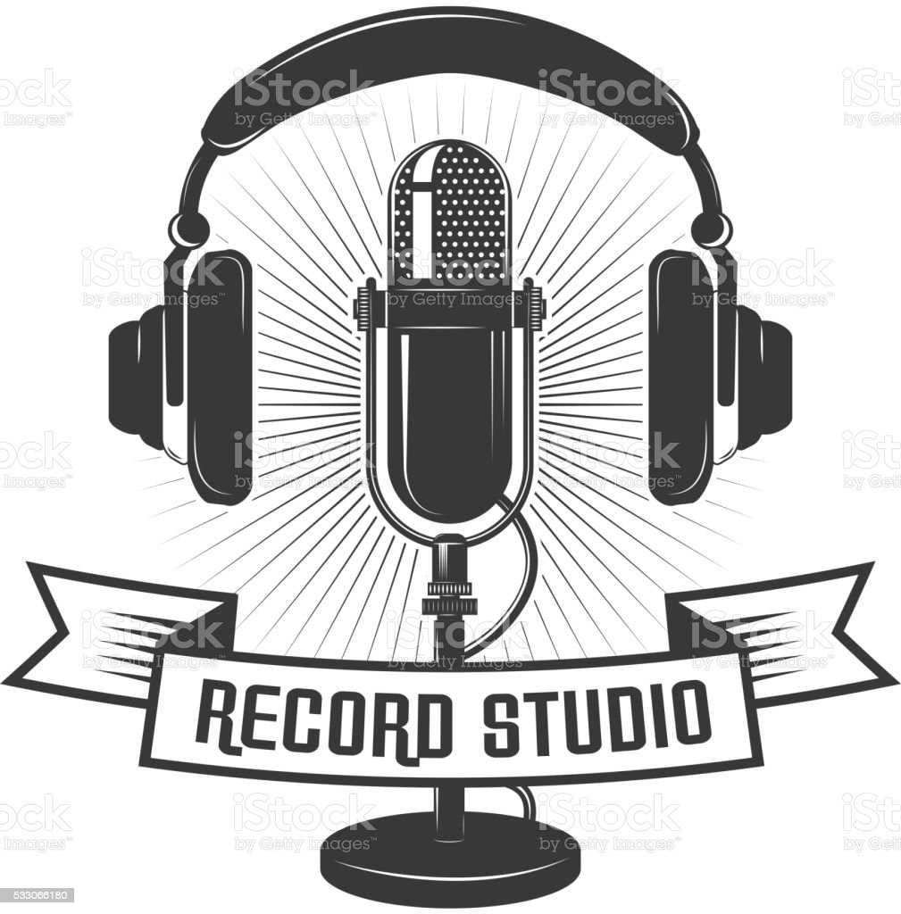 Record Studio Label Template Microphone And Headphones Stock Vector ...