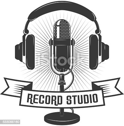 Record Studio Label Template Microphone And Headphones