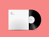 istock LP Record Vinyl Disc Cover with Vinyl disc inside. Realistic vector mock up. Vector Illustration. 1040253588