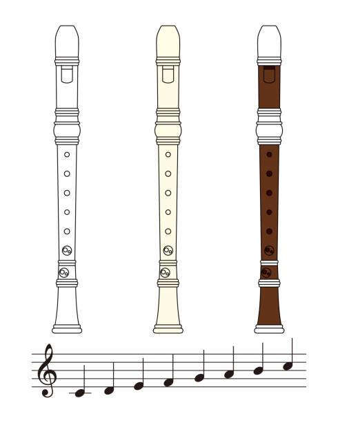 リコーダーと音符のセット ベクター イラスト ベクターアートイラスト