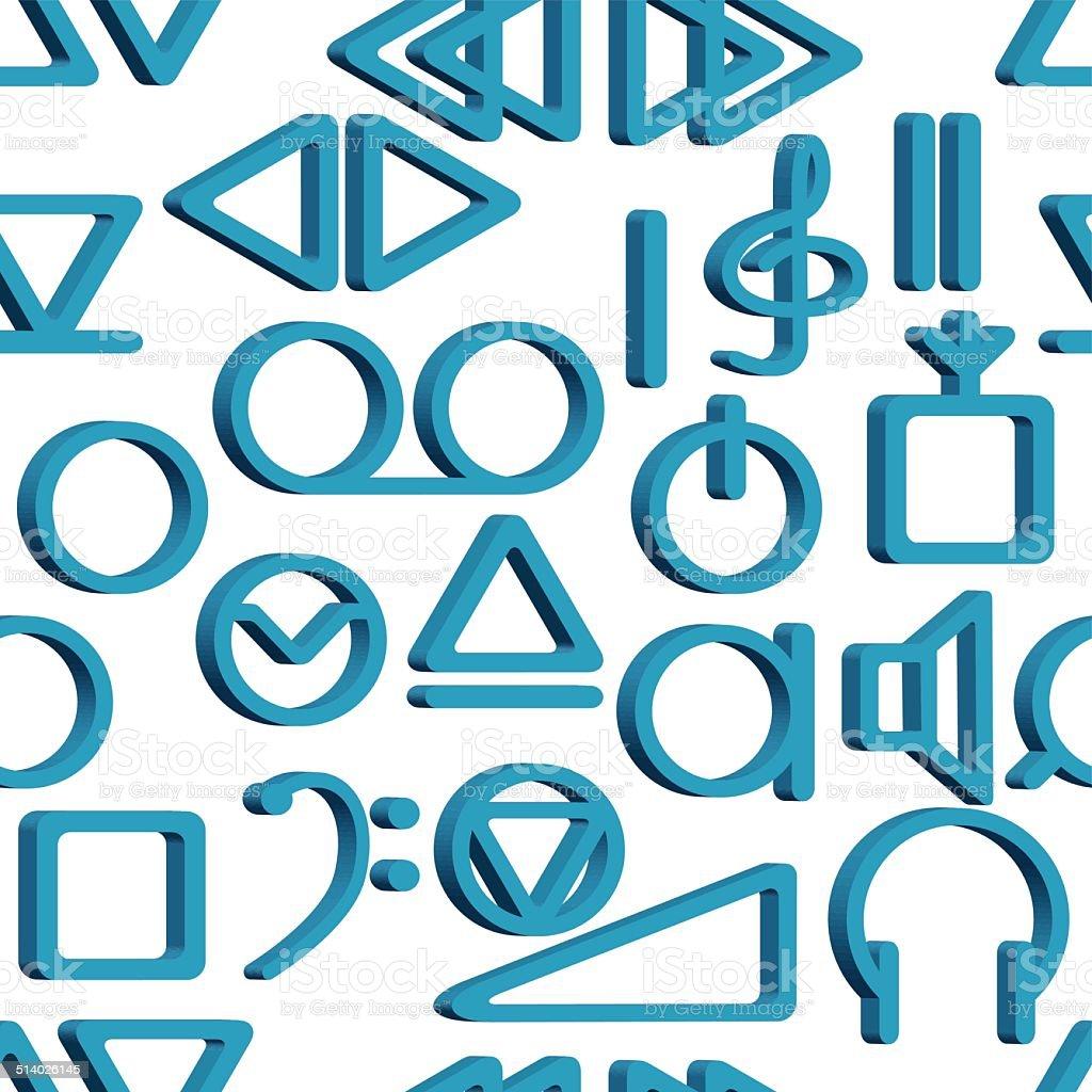 Recorder symbols pattern vector art illustration