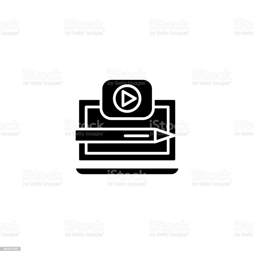 Recording a video black icon concept. Recording a video flat  vector symbol, sign, illustration. royalty-free recording a video black icon concept recording a video flat vector symbol sign illustration stock vector art & more images of black color