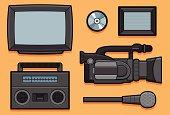 Recording elements: Tv, boombox, video camera