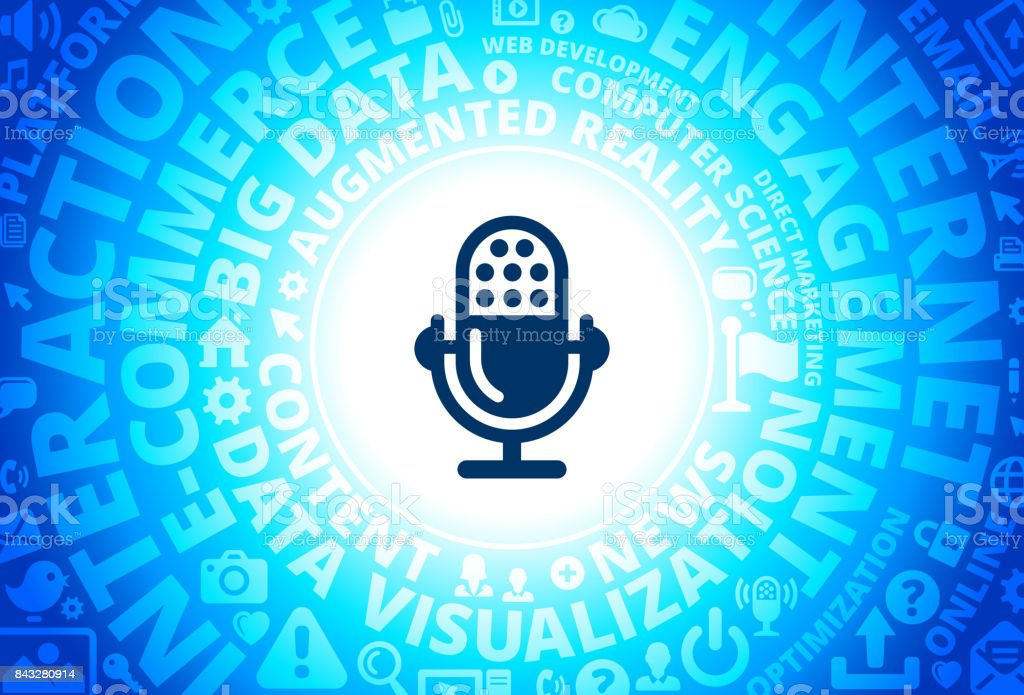 Recording Microphone Icon on Internet Modern Technology Words Background vector art illustration