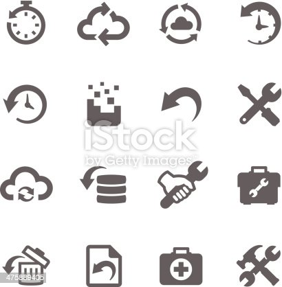 Simple set of recovery and repair related vector icons for your design