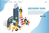 Recovery data vector website template, web page and landing page design for website and mobile site development. Memory card repair, computer hardware services concept with characters.