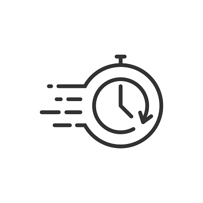Recovery icon in flat style. Repeat clock vector illustration on white isolated background. Rotation time business concept.