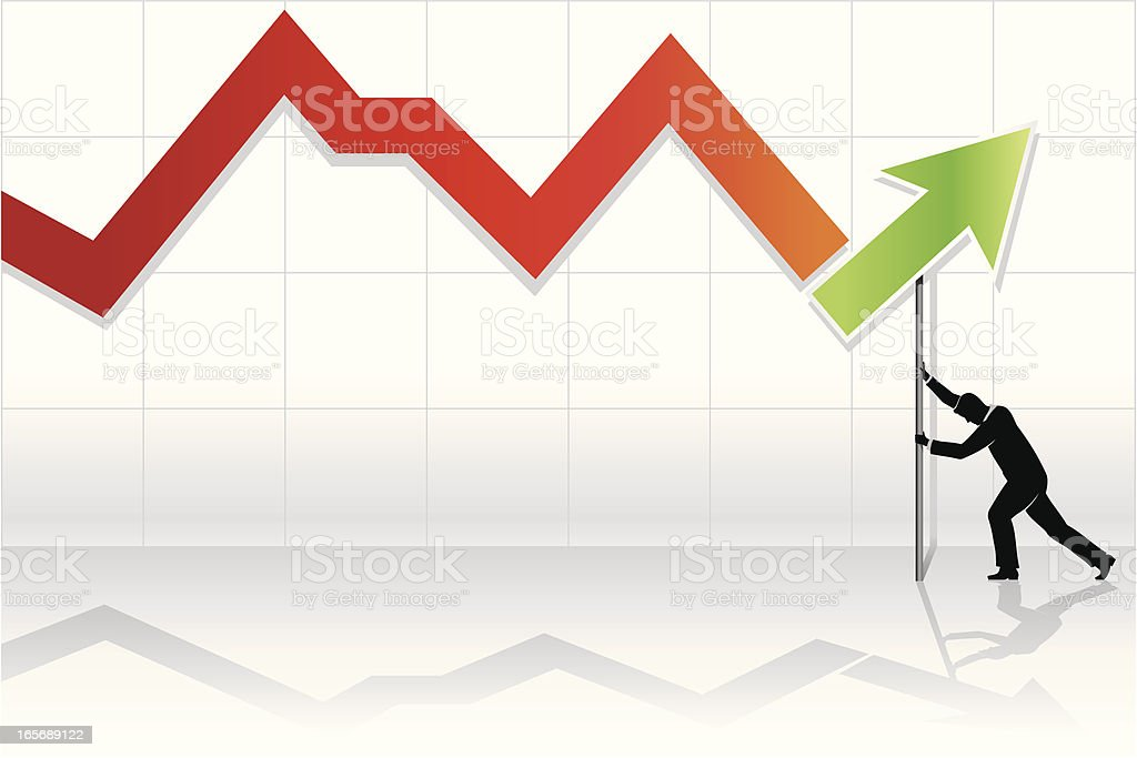 Recovery line graph with a male figure royalty-free stock vector art