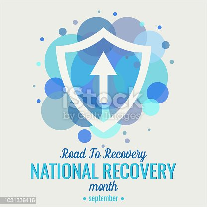 National recovery month card or background. road to recovery. vector illustration.