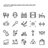 Recreation activity and relax thin line icon.