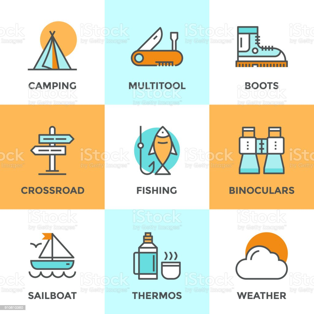 Line icons set with flat design elements of recreation camping...