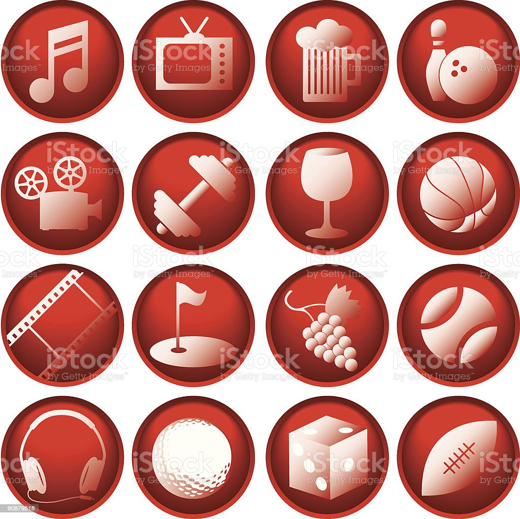 Recreation Icon Buttons royalty-free stock vector art