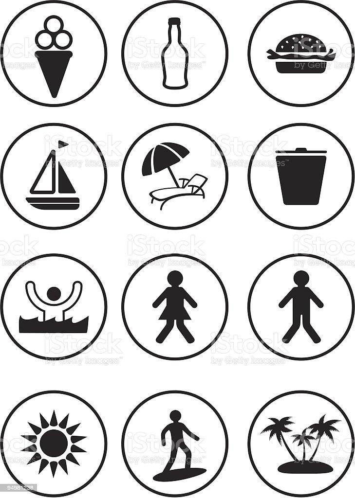 Recreation icon set royalty-free stock vector art