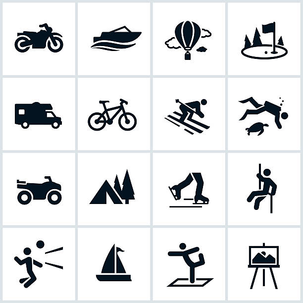 Recreation Icons Black recreation icons. The single color icons include several popular recreation events like boating, hot air ballooning, motorcycle, snow skiing, camping, rappelling, and diving. hobbies stock illustrations