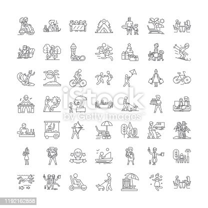 Recreation line icons, signs, symbols vector, linear illustration set