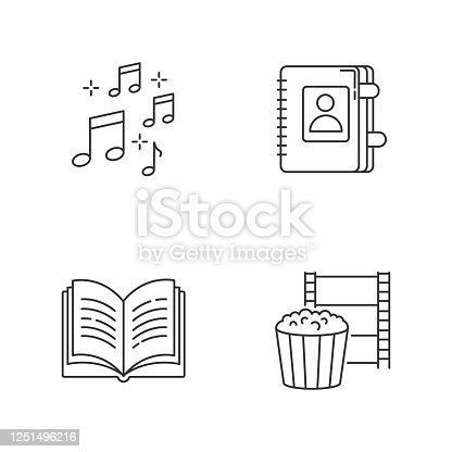 Recreation pixel perfect linear icons set. Musical notation. Write in notebook. Leisure activities. Customizable thin line contour symbols. Isolated vector outline illustrations. Editable strokes