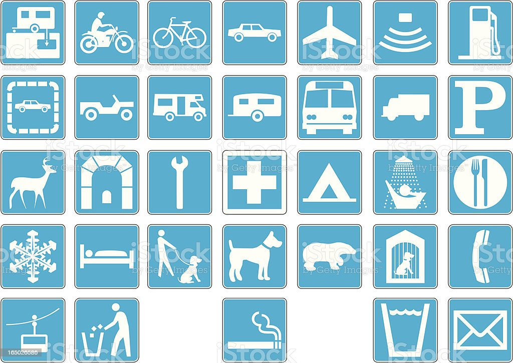 recreation road signs in vector format 2 royalty-free stock vector art