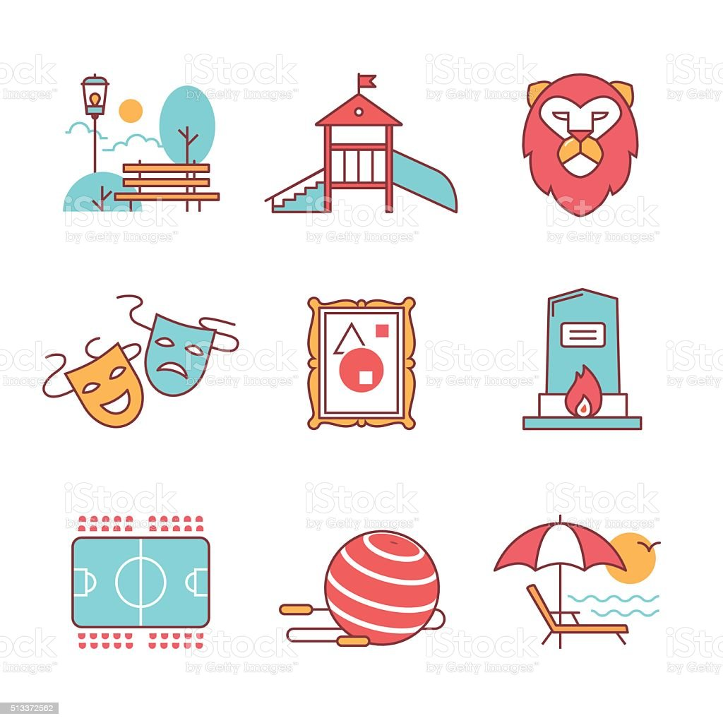 Recreation, tourism and sport buildings signs set vector art illustration