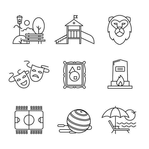 recreation, tourism and sport buildings signs set - recess stock illustrations, clip art, cartoons, & icons