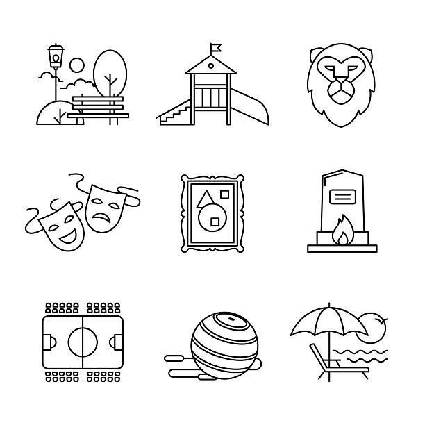 Loisirs, sport et du tourisme de bâtiments ensemble de panneaux - Illustration vectorielle
