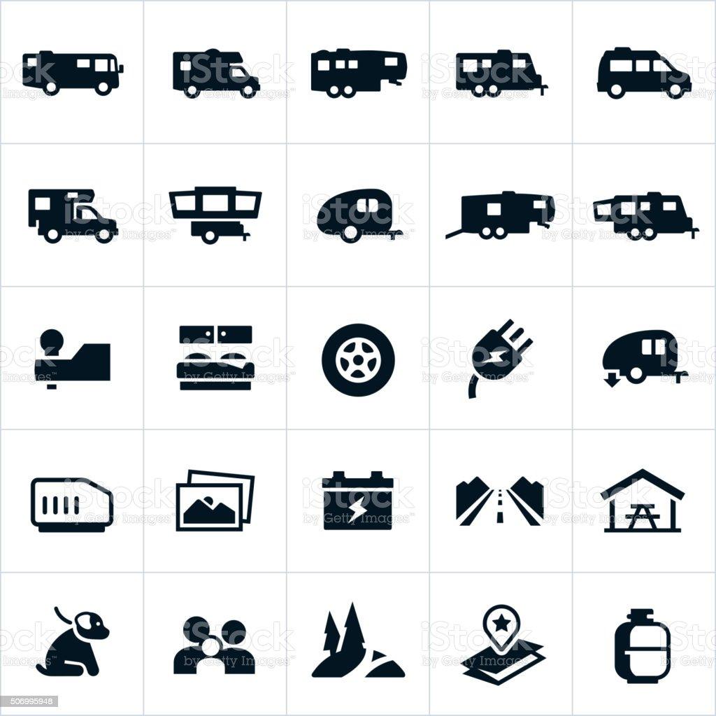 Recreation Vehicle Icons vector art illustration