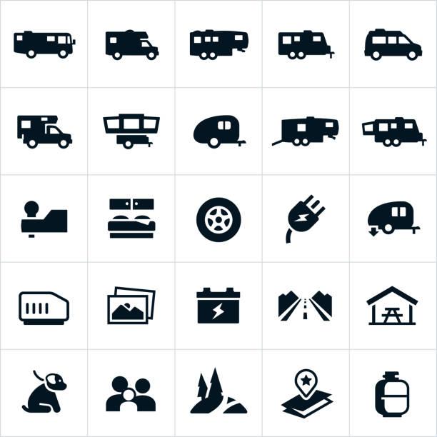 recreation fahrzeug symbole - campinganhänger stock-grafiken, -clipart, -cartoons und -symbole