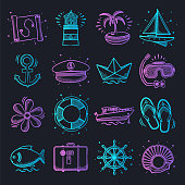 Recreational coastal activities neon doodle style outline symbols on dark background. Vector icons set for infographics, mobile or web page designs.