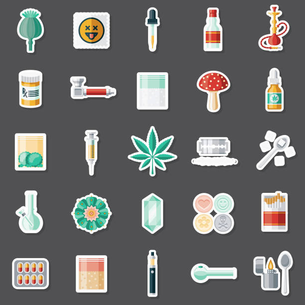stockillustraties, clipart, cartoons en iconen met recreatieve drugs sticker set - amfetamine