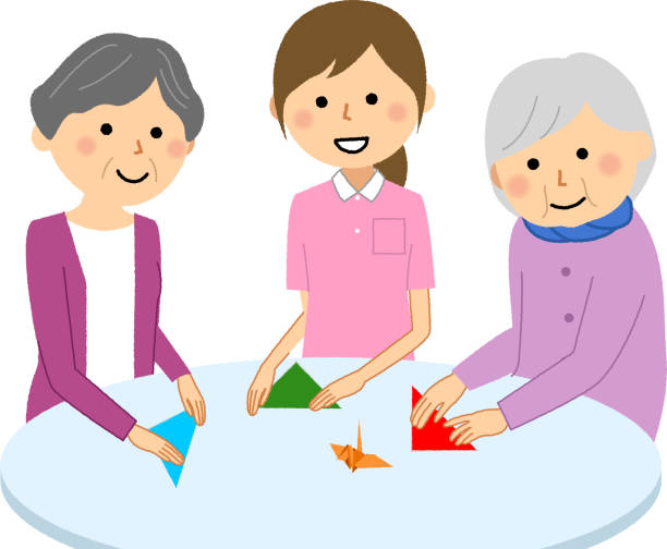 Recreational elderly and care staff - illustrazione arte vettoriale