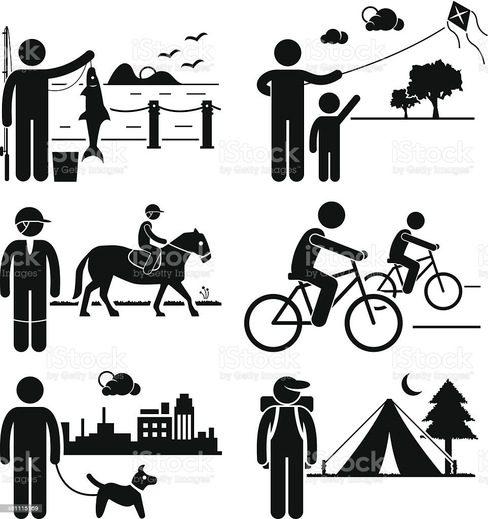 Recreational Outdoor Leisure Activities Clipart Royalty Free Stock Vector Art