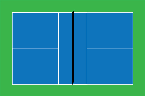Recreational sport of pickleball court in USA looking at an empty blue vector court and green grass background.