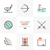 Modern flat icons set of recreational sports activity, outdoor sports. Unique color flat graphics elements with stroke lines. Premium quality vector pictogram concept for web, branding, infographics.
