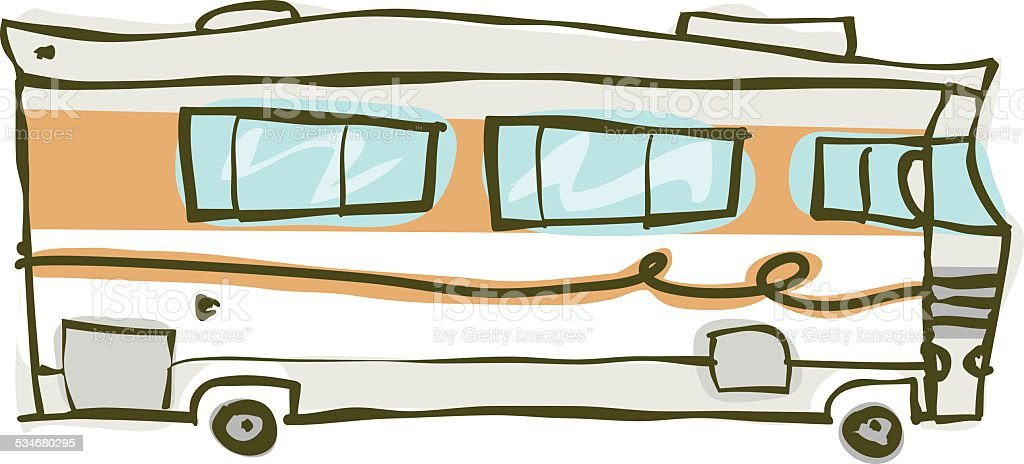 Recreational Vehicle - Doodle vector art illustration