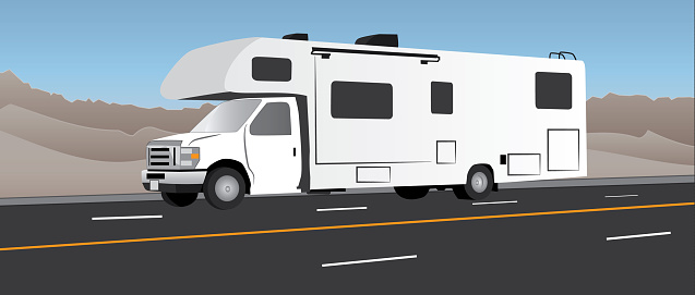 RV recreational vehicle driving on the highway