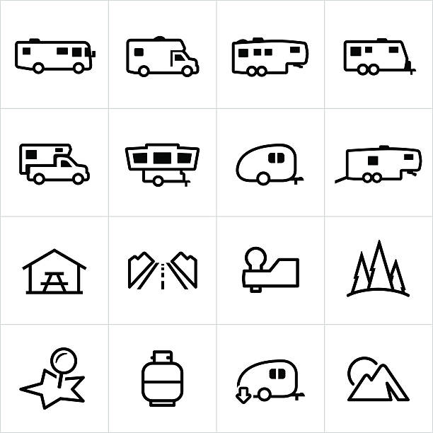 wohnmobil-symbole - campinganhänger stock-grafiken, -clipart, -cartoons und -symbole