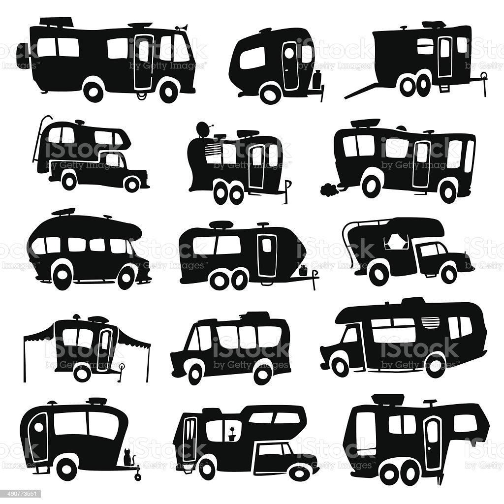 Recreational Vehicles Icons vector art illustration